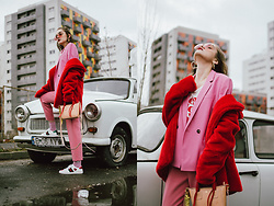 Andreea Birsan - Red Faux Fur, Pink Blazer, Pink Tinted Sunglasses, Pink Trousers, Gucci Ace Heart Embroidered Sneakers, T Shirt, Mini Tote Bag - Red and pink