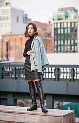 Tracy Qiu - St.John Knits Jacket, St.John Knits Sweater, St. John Knits Leather Skirt, Stuart Weitzman Over The Knee Boots - The spring jacket