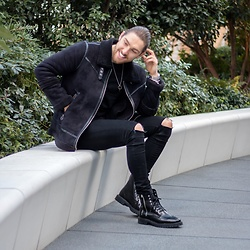 Henry & William Wade - Boohoo Shawl Jacket, Asos Skinny Black Knee Hole Denim, Zara Leather Zip Boots - All black everything