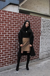 Seoha Park -  - TURTLENECK AND ZARA FAUX LEATHER SKIRT