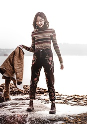 Gabby Chia - Striped Turtleneck, Topshop Rose Embroidered Mom Jeans, Blundstone Blundstones, Forever 21 Shearling Jacket - Roses