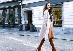Veronika Lipar - Escada Camel Wool Pencil Skirt, Maxmara Off White Double Breasted Wool Coat, Stuart Weitzman Brown Over The Knee Suede Boots - HOW TO WEAR PENCIL SKIRT IN YOUR 20S