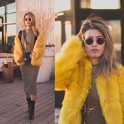 Ohn MintyFresh - Bershka Faux Fur Coat, Shop The Shoebox Midi Dress, Allsaints Ankle Boots, Prada, Ray Bans Shades - Yellow Faux Fur - NYFW Day 2