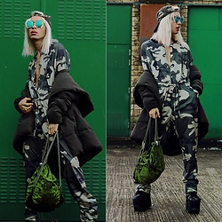 Milex X - Aye Sunglasses, Girlmerry Jumpsuit, River Island Jacket, Hannisch Bag - JOIN THE ARMY