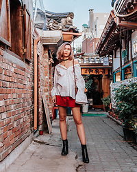Arielle - And Other Stories Oversized Top, Zara Suede Skirt, Zara Leather Sock Boots - Seoul Look