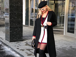 Anna Kopa - Cos Coat, Stuart Weitzman Boots, Zara Cardigan, Asos Glasses, Tommy Hilfiger Bag, Gucci Belt, Intimissimi Top - Red stripes