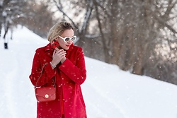 Anna Kopa - Maxmara Coat, Cocinelle Bag, Anna Kopa Earrings, Asos Glasses - Total red
