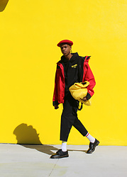 Dominic Grizzelle - Azs I Cried For You Beret, The Northface Jacket, Dr. Martens Oxfords - DHL Delivery boy