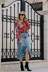 Meagan Brandon - Floral Blouse, Gucci Belt, Circle Handbag, Denim Skirt, Sock Boots - Floral Blouse & Denim Pencil Skirt