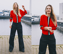 Eva Velt - Shein Red Striped Sweater, Ursul Paris Bracelet, New View Pants - Down by the docks