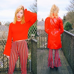 Coral Baker - Miss Selfridge Vinyl Trench Coat, Pretty Little Thing Striped Flared Trousers, Pretty Little Thing Bell Sleeve Jumper - Racing Red