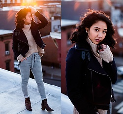 Mai Sunshine - Forever 21 Moto Suede Jacket, H&M Turtleneck Sweater, Nasty Gal Trouser Pants, H&M Booties - Multitude of Drops
