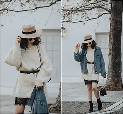 Theoni Argyropoulou - Accessorize Wool Hat, Sweater Dress, Stradivarius Belt, Pull & Bear Denim Jacket, Zaful Slip Dress, Bershka Ankle Boots, Mango Bag - Sweater dress for spring on somethingvogue.com