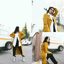 Jazmine Liss - Jeffrey Campbell Shoes Marble Print Bootie, Forever 21 Mustard Yellow Jacket - That Feeling