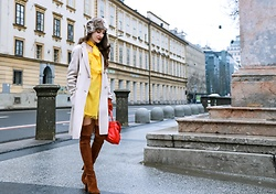 Veronika Lipar - Escada Yellow Shirt Dress With Bow Tie, Maxmara Off White Max Mara Coat, Stuart Weitzman Nut Brown Over The Knee Boots, Bart Faux Fur Headband - Not Sure How to Wear Yellow Dress? Here's How I Wear It Now