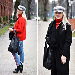 Natalia Piatczyc - Zaful Red Crew Neck Sweater, Zaful Black Long Coat, Primark Black White Newsboy Cap, Zaful Light Jeans Red - Casual elegance