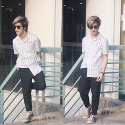Seff Musa - Zara Black Shades, Zara Blue And White Stipes Bowling Shirt, Pull & Bear Black Cropped Chinos, Converse Blue Sneakers - Exhausted