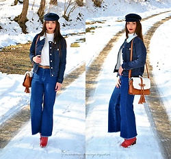 Natalia Uliasz - Rosegal Beret Hat, Zaful Embroidered Blouse, Twinkledeals Denim Jacket, Zaful Denim Culottes, Dresslily Bag, Deezee.Pl Red Boots - Culottes denim