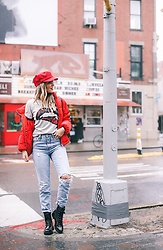 Amber Wilkerson - Puffer Coat, Tshirt, Hat, Levi Jeans, Boots, Purse - New York Fashion Week Sporty and Sassy Look!