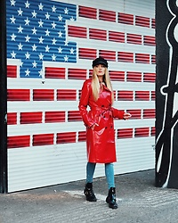 Laura Simon - Asos Red Coat, Anthropologie Black Cap, River Island Cut Out Boots - Matching with 🇺🇸