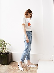 Lina Lee - Pull & Bear Pepsi Tee, Slash Dash Mummy Jeans, Zara Muller Wedge - Pepsi Mood