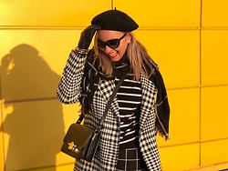 Anna Kopa - Massimo Dutti Bag, United Colors Of Benetton Coat, H&M Scarf, Be Free Skirt, Prada Glasses - Playing with stripes