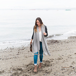 Alexandra G. - White & Warren Cashmere Wrap, Mavi Skinny Blue Jeans, Urban Outfitters Suede Ankle Boots, Mackage Leather Moto Jacket - Seaside Style