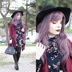 Federica D - Romwe Fedora Black Hat, Shein Burgundy Light Coat, Shein Flower Print Navy Dress, Uniqso Lolita Wig - Wintry