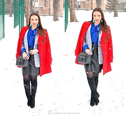 Natalia Uliasz - Dresslily Earrings, Rosegal Blouse, Twinkledeals Checked Blazer, Zaful Bag, Rosegal Leather Skirt, Zaful High Boots - Winter in full