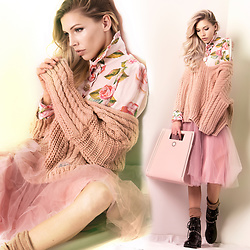 Dora D. - Rose Print Silk Blouse, Megi Dusty Pink Knitted Sweater, Flower By Charm's Paris Pastel Pink Tulle Skirt, Black Biker Boots - Sweet like Candy to my Soul