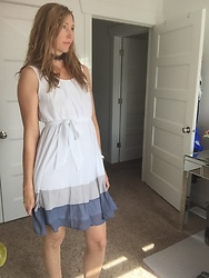 Cindy Batchelor -  - Cute White Dress with Ombre Blue and Gray Skirt