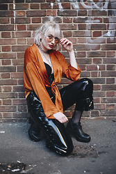 Sapphire Needham - Nasty Gal Shirt, Nasty Gal Pvc Trousers, Urban Outfitters Sunglasses - Sassy Saffy
