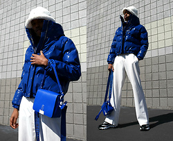 Dominic Grizzelle - Off White Binder Clip Bag, Kangol Faux Fur Bucket Hat, Missguided Vinly Puffer, Sketchers Sneakers - Blue Rain