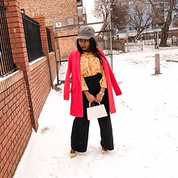 Abimbola Ogunsanya - Oasis Overcoat, Chi Floral Top, Missy Empire Pants - Little red riding the snow