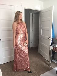 Cindy Batchelor - Marsen Gorgeous Rose Gold Halter Top Gown, Gold Geometric Clutch - Gorgeous Rose Gold Halter Top Gown