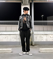 ★masaki★ - Newyork Hat Big Apple, Ch. Leather Jacket, David Bowie Low, Ch. Dun Pants, Vans Checker - LOW