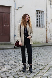 Summer R - Giorgio Armani Vintage Blazer, Zara Stripe Long Sleeve Crop Top, And Other Stories Black Cropped Flare Jeans, Marks & Spencer Burgundy Drawstring Bucket Bag, Vagabond Pointed Toe Ankle Boots - Layering in La Rochelle