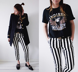 Magna G. - Www.Lovebeingpetite.Com - Black & white striped pants and a rock tee