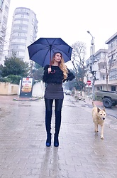 Imgoshka - Zara Dark Blue Over Knee Boots, Zara Polka Dot Skirt, Twist Frill Top, Calzedonia Tights - Rainy Day