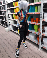 Kimi Peri - The Ragged Priest Psyche Ringer Tee, Na Kd Trousers, Rainbow Socks, In Control Clothing Holographic Backpack, Solrayz Moonstone Necklace, Choker, Vans Platform Sneaker - Plant Shopping