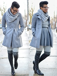 Sushanna M. - Thrifted Tortoise Cat Eye Glasses, Thrifted Grey Infinity Scarf, Thrifted Grey Double Breasted Coat, Asos Grey Mixed Pattern Sweater, Grey Pleated Skirt, Two Tone Snowflake Pattern Tights, Thrifted Vintage Men's Black Cap Toe Oxfords - Greyscale