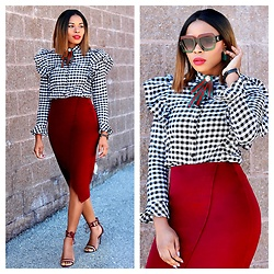 TOMGFASHION COM - New Yorker Skirt, Boohoo Shirt - Red chic
