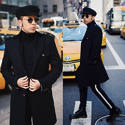 Franko Dean - Zara Military Coat, Asos Trousers With Stripe, Dr. Martens High Boots, Asos Turtle Neck Sweater, Ray Ban Round Sunglasses, Goorin Brothers Cadet Hat - On my way...