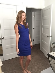 Cindy Batchelor - Chic Blue Sheath Dress - Chic Blue Sheath Dress
