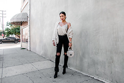 Jessi Malay - L'Agence Jane Silk Camisole, Line & Dot Manette Cardigan, L'Agence Highline High Waist Fray Hem Skinny Jeans, Salar Studded Round Shoulder Bag, Tony Bianco Davis Bootie, Baublebar Penelope Hoop Earrings - Silk Cami + Cropped Denim