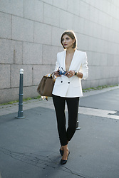 "Elle de Strasbourg - Maxmara White Blazer, Maxmara Black Silk Trousers, Maxmara Black High Heel Shoes, Maxmara Max Mara Nude ""Metropolis"" Bag, Maxmara Black Sunglasses, Freywille Silk Scarf, Klimt Collection, Freywille Bangles - THE PERFECT WHITE BLAZER  by Max Mara"