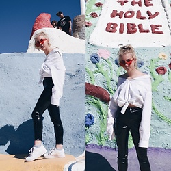 Giovanna Osterman - Gloss The Label Sunglasses, Tommy Hilfiger Shirt, Asos Vinyl Pants, Nike Air Force 1'S - 3.11.18