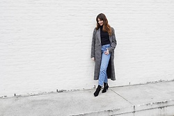 Sofie Rome - Pimkie Checked Coat, H&M Straight Jeans, H&M Sock Boots - Checked coat