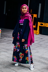 Liyana Aris - Adidas Logo T Shirt, Mango Oversized Blazer, Adidas Floral Print Maxi Skirt, Adidas Superstar Sneakers - How Hijabis Can Wear Skirts Without Looking Too 'Girlie'
