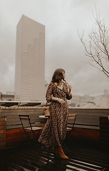 Tonya S. - Madewell Nightflower Dress, Free People Cecile Ankle Boot, Vintage Bag - Nightflower Dress from Madewell